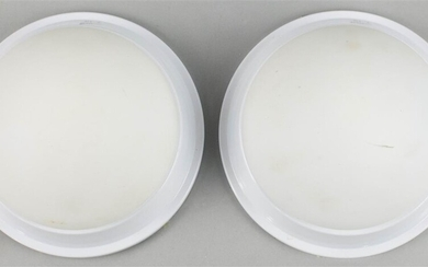 PAIR OF CONTEMPORARY FROSTED GLASS AND WHITE MOLDED FLUSH MOUNTED CEILING FIXTURES