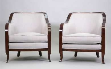 PAIR OF CONTEMPORARY MAHOGANY TUB CHAIRS BY AERIN