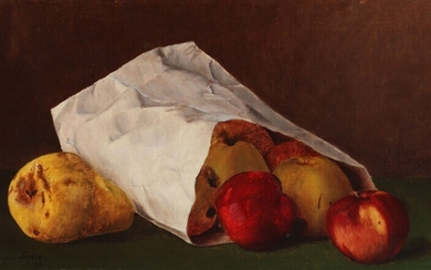 Painter unknown, 20th century: Still life with a paperbag of pears and apples on a...