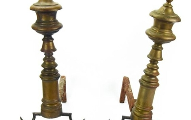 Pair Antique Chippendale Style Brass Andirons.