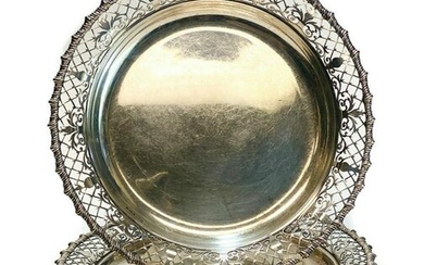 Pair James Dixon & Sons Sterling Silver Tray Plates