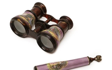 Pair of 19th Century Opera Glasses, mounted with purple enamel...