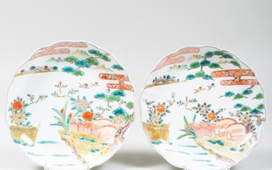Pair of Chinese Porcelain Lobed Dishes Painted with