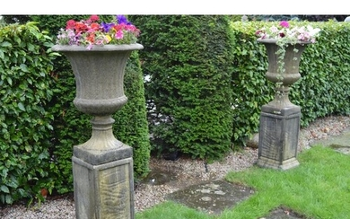 Pair of composition garden urns on square bases. {140 cm H x...
