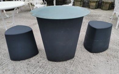 Retro garden table with glass top {73 cm H x 76 cm Dia.} and...