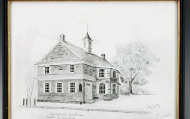 SIGNED COLONIAL COURTHOUSE PRINT