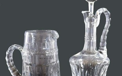 ST. LOUIS CUT CRYSTAL EWER AND PITCHER