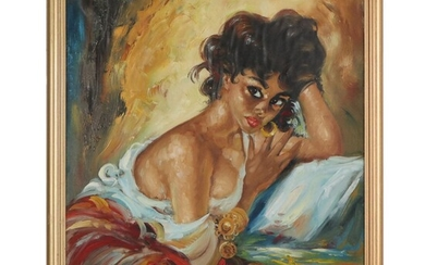 Stylized Oil Painting of Woman, Late 20th Century