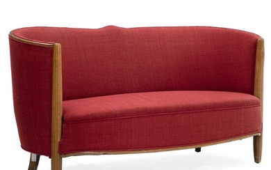 Swedish design: Two seater sofa with frame of beech. Upholstered with red wool. H. 75 cm. L. 146 cm. D. 66 cm. – Bruun Rasmussen Auctioneers of Fine Art