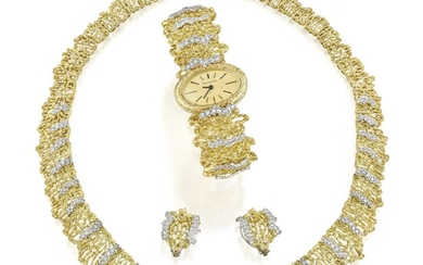 Textured Gold and Diamond Suite with Jaeger LeCoultre Watch
