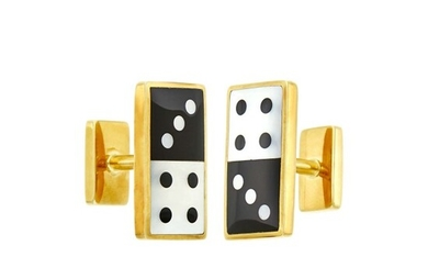 Tiffany & Co. Pair of Gold, Black Onyx and Mother-of-Pearl Cufflinks