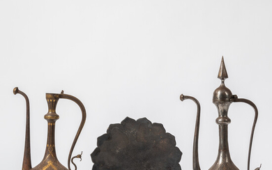 Two Inlaid Metal Ewers and a Tray
