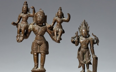 Two small South Indian copper alloy figures. 19th/20th century