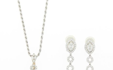 White Gold and Diamond Pendant-Necklace and Pair of Pendant-Earrings