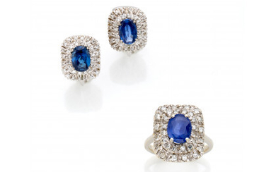 White gold sapphire and diamond jewellery set comprising earrings of cm 1.4 circa and a ring size 12/52, sapphires in…Read more