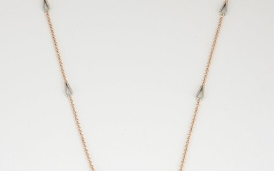 18 K/750 Hallmarked Rose and White Gold Chain Necklace