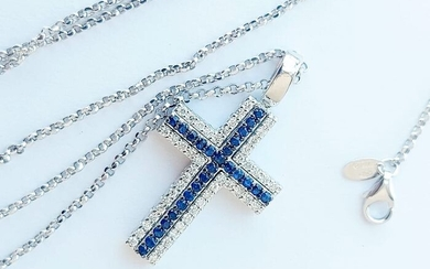 18 kt. Gold, White gold - Necklace, Necklace with pendant, Pendant - 0.96 ct Diamond - Sapphires