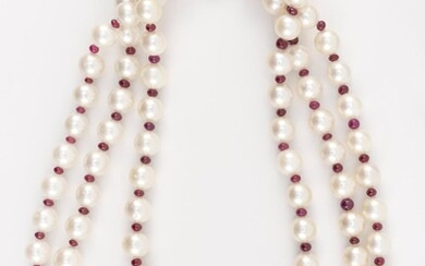 18KT GOLD, CULTURED PEARL AND RUBY BEAD TRIPLE-STRAND NECKLACE
