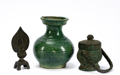 3PC CHINESE GROUPING, VASE & 2 ARCHAIC ARTICLES