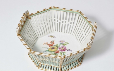 A Berlin KPM porcelain pastry basket from a service with floral decor