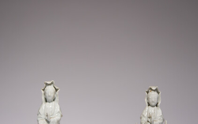 A CHINESE BLANC DE CHINE LIBATION CUP AND TWO WHITE GLAZED FIGURES OF GUANYIN