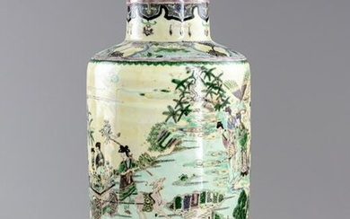 A CHINESE FAMILLE VERTE ROULEAU VASE, QING DYNASTY