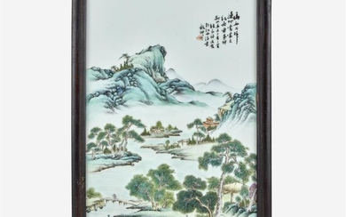 """A Chinese enameled porcelain """"Landscape"""" plaque Inscribed and with..."""