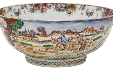 A Chinese export famille rose punch bowl
