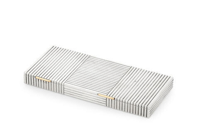 A French silver combined compact and cigarette case