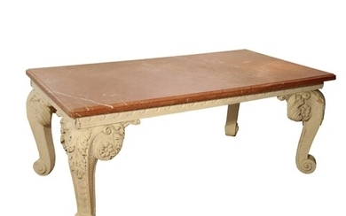 A GEORGE II STYLE CARVED WOOD AND MARBLE TOPPED CENTRE TABLE...