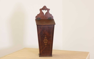 A George III strung and inlaid mahogany candle box
