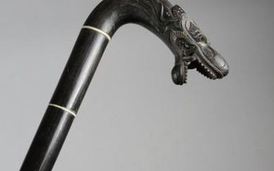 ? A HORN AND IVORY WALKING CANE BURMESE OR INDIAN,...