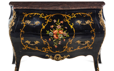 A Louis XV Style Gilt Metal Mounted Painted Marble-Top Commode