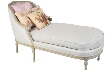 A Louis XVI Style Carved and Grey Painted Chaise Longue