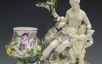 A Meissen figural potpourri, mid to late 18th century, modelled as Diana and Cupid accompanied by a