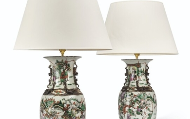 A PAIR OF CHINESE FAMILLE VERTE PORCELAIN VASES MOUNTED AS LAMPS