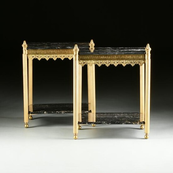 A PAIR OF NEOCLASSICAL REVIVAL PORTER MARBLE AND GILT