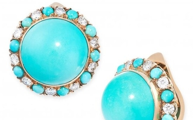A PAIR OF VINTAGE TURQUOISE AND DIAMOND CLIP EARRINGS