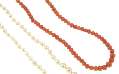 A cultured pearl single-strand necklace, with 9ct gold clasp, and a single-strand coral necklace, together with an aquamarine and split pearl brooch.