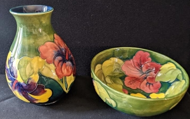 A matching green floral Moorecroft vase and bowl
