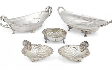 A navette-shaped Victorian silver dish, Sheffield, c.1897, James Dixon & Sons, the bifurcated foliate twin handles to pierced sides repousse decorated with garlands, 33cm long, together with a Victorian silver sugar bowl, London, c.1864, Beare...