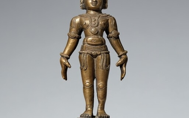 A possibly Bengali copper alloy figure. Eastern India. 17th/18th century