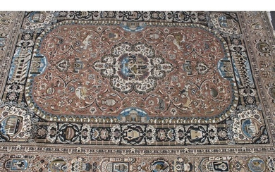 A woollen carpet, worked in the Middle Eastern manner with a...