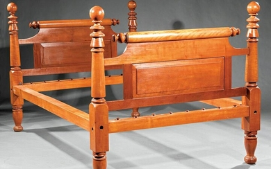 American Tiger Maple Four Poster Rope Bed