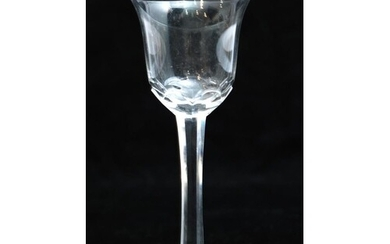 An 18th Century drinking glass circa 1780, the bell form bow...