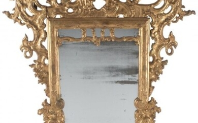 An Italian Baroque Carved and Giltwood Mirror, 1