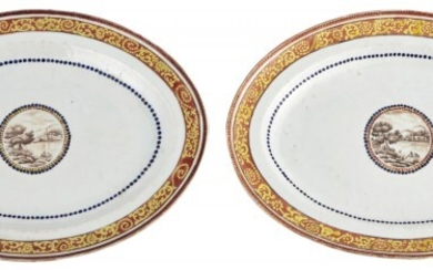 An Unusual Pair of Chinese Porcelain Oval Serving Dishes