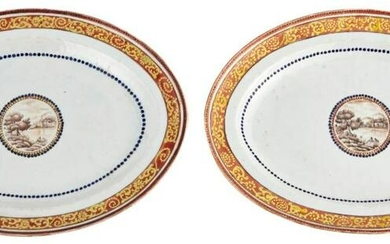 An Unusual Pair of Chinese Porcelain Oval Serving