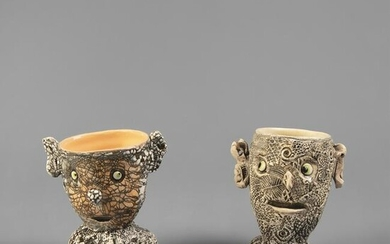 Andy Nasisse, Two Figurative Face Cups, 2002-2003