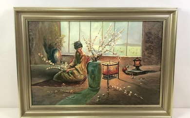 Asian Woman with Cherry Blossoms Painting